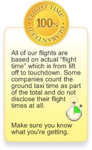 All of our flights are based on actual flight time which is from lift off to touchdown. Some companies count the ground taxi time as part of the total and do not disclose their flight times at all. Make sure you know what you're getting.